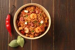 Creole Jambalaya - Rice cooked with shrimp, smoked sausage and t Royalty Free Stock Image