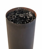 Creosote in Stove Pipe. Dangerous accumulation of Creosote in a Wood Stove Chimney Pipe Royalty Free Stock Photo