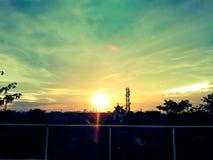 Crepúsculo bonito da opinião do telhado Imagem de Stock