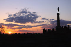 Crepúsculo da fortaleza de Kalemegdan, Belgrado, sérvio Imagem de Stock
