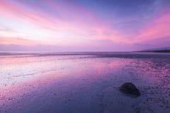 Crepúsculo de la playa fangosa cerca de Penang, Malasia Foto de archivo