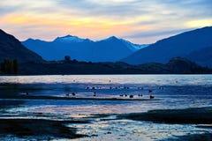 Crepúsculo de Wanaka del lago Fotografía de archivo