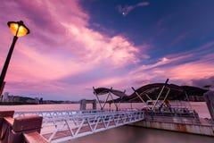 Crepúsculo del embarcadero de Tamsui, Taiwán Fotografía de archivo libre de regalías