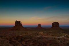 Crepúsculo del valle del monumento fotos de archivo libres de regalías