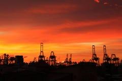 Crepúsculo do porto fotografia de stock