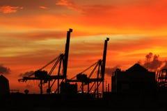 Crepúsculo do porto fotos de stock