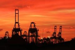 Crepúsculo do porto foto de stock royalty free