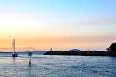 Crepúsculo do veleiro Imagens de Stock Royalty Free