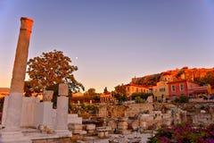 Crepúsculo em Atenas fotografia de stock