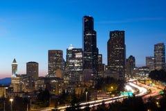 Crepúsculo em Seattle fotografia de stock