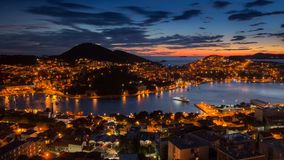 Crepúsculo en Dubrovnik Fotos de archivo libres de regalías