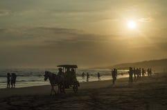 Crepúsculo en la playa del parangkusumo Foto de archivo libre de regalías