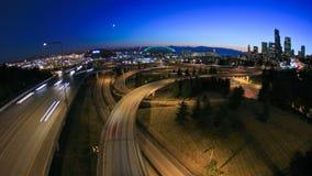 Crepúsculo Fisheye do lapso de tempo da arquitetura da cidade de Seattle video estoque