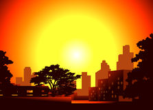 Crepúsculo na cidade Foto de Stock Royalty Free