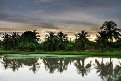 Crepúsculo na exploração agrícola Fotografia de Stock