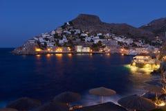 Crepúsculo na ilha do Hydra uma estadia romântica Fotos de Stock Royalty Free