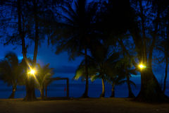 Crepúsculo na praia Imagens de Stock