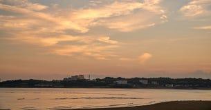Crepúsculo na praia Foto de Stock Royalty Free