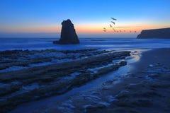 Crepúsculo na praia de Davenport Fotos de Stock Royalty Free