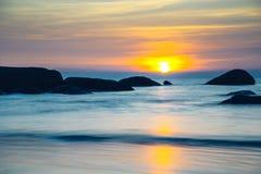 Crepúsculo na praia de Palolem, Goa Foto de Stock