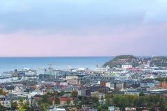 Crepúsculo nevoento em Trondheim imagens de stock royalty free