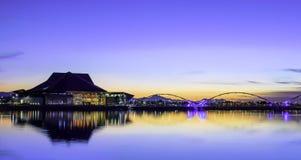 Crepúsculo no lago Foto de Stock Royalty Free