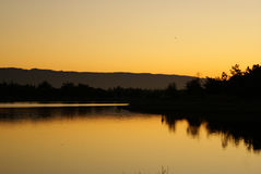 Crepúsculo no lago park de Shorline, Mountain View, Califórnia, Fotografia de Stock