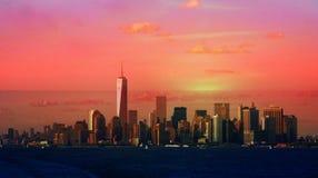 Crepúsculo ou alvorecer de New York City Imagens de Stock Royalty Free