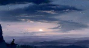 Crepúsculo pintado Digital com paisagem do por do sol na cor ilustração do vetor