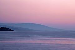 Crepúsculo roxo na península de Mornington, Austrália Fotografia de Stock Royalty Free