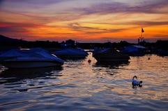 Crepúsculo sobre o lago zurich Fotos de Stock Royalty Free