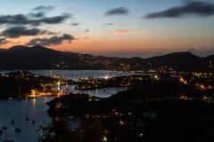 Crepúsculo sobre os portos de Nelson e de Falmouth Imagem de Stock Royalty Free