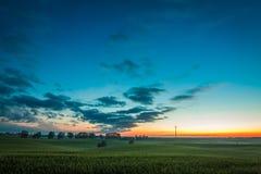 Crepúsculo sobre turbinas eólicas do campo no verão Foto de Stock Royalty Free