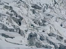 Crepacci più galcier Monte Bianco delle alpi delle montagne Fotografia Stock Libera da Diritti