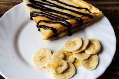Crepe блинчика завтрака с бананом Стоковая Фотография RF