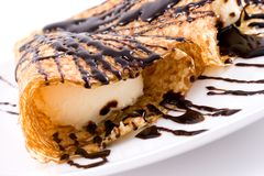 Crepe. Filled with vanilla ice cream stock photography