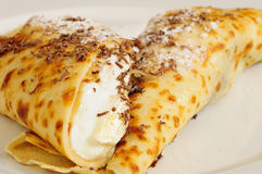 Crepe / Crepes / Pancake / Pancakes with banan and Royalty Free Stock Photography