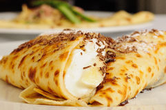 Crepe / Crepes / Pancake / Pancakes with banan and Royalty Free Stock Images