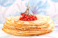 Crepe with berry viburnum Royalty Free Stock Images