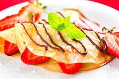 Crepe. Breakfast pancake strawberry gourmet fruit food stock photography
