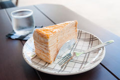 Crepe Cake and beverages Royalty Free Stock Photos