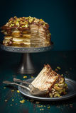 Crepe cake with chocolate and nuts Royalty Free Stock Photography