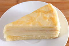 Crepe cake,Crepe cake milk on white plate. Stock Images