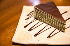 Crepe cake in square japanese-style dish Royalty Free Stock Photography