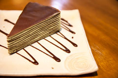 Crepe cake in square japanese-style dish Royalty Free Stock Image