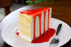 Crepe cake with strawberry sauce Stock Photo