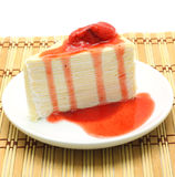Crepe cake strawberry Royalty Free Stock Photo