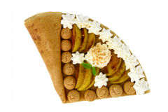Crepe with caramelized apples and almond cookies Royalty Free Stock Image