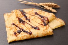 Crepe with chocolate. Close up on crepe with chocolate royalty free stock photography