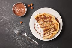 Crepe with chocolate stock image